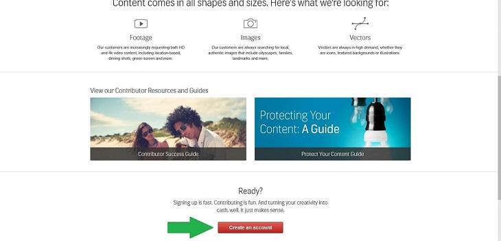 Регистрация в Shutterstock